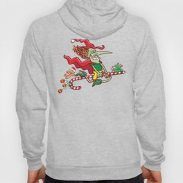 Halloween witch flying on a Christmas candy cane Hoody