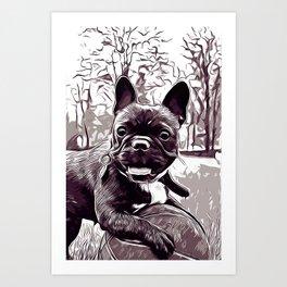french bulldog basketball vector art black white Art Print