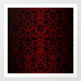 Dark Red and Black Damask Art Print