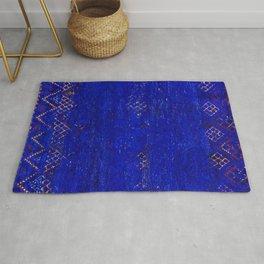 V11 Calm Blue Printed of Original Traditional Moroccan Carpet Rug