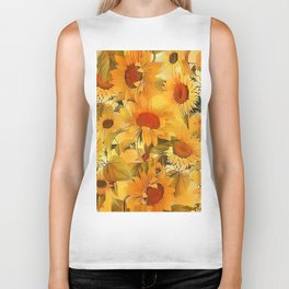 Sunshine Floral Abstract Biker Tank
