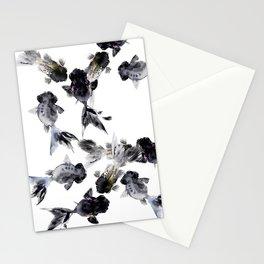 Black Moor, Feng Shui Koi Fish Art, Three Fish black fish decor Stationery Cards