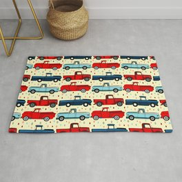Winter Vintage Trucks Rug