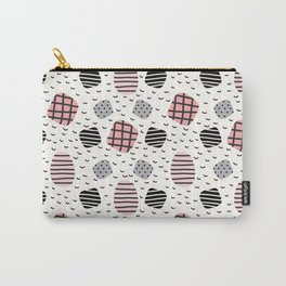 Modern pastel pink black white geometrical trendy pattern Carry-All Pouch