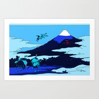 hokusai Art Prints featuring Hokusai by Nicky Hope