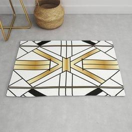 Chic Black & Gold Art Deco Lines Rug