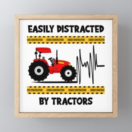 Easy Distracted By Tractors Farm Trucks Framed Mini Art Print
