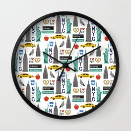 NYC travel pattern fun kids decor boys and girls nursery new york city theme Wall Clock