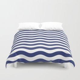 Blue Nautical Waves Duvet Cover
