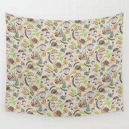 Woodland Snail in Watercolor Fungi Forest, Moss Green and Ochre Earth Animal Pattern Wall Tapestry