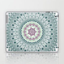 Color teal and purple feather mandala hippie boho Laptop & iPad Skin