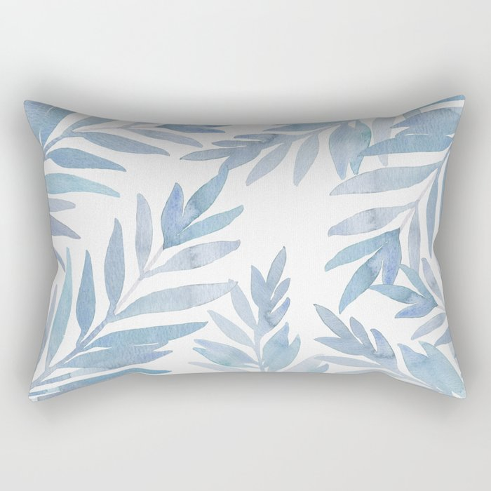 Muted Blue Palm Leaves Rectangular Pillow
