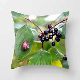 Poison or not : Snail with berries Throw Pillow