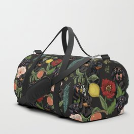 Botanical and Black Dachshund Duffle Bag