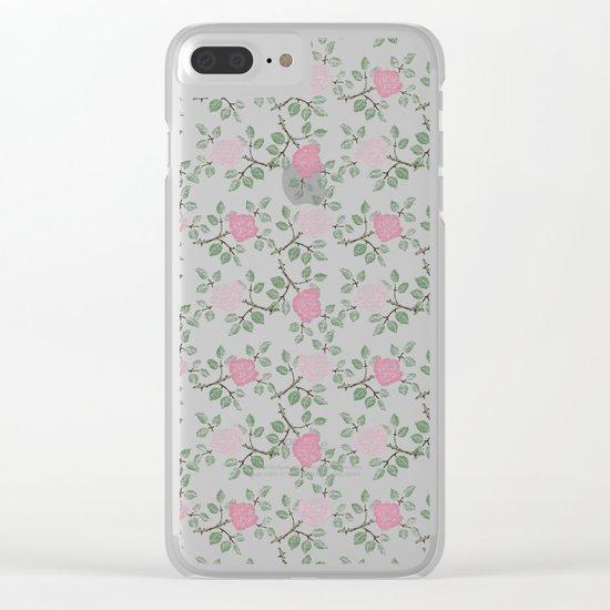Rose Print Clear iPhone Case