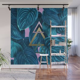 tropical turquoise leaves pattern Wall Mural