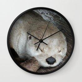 Sleeping Otter in a Log Wall Clock