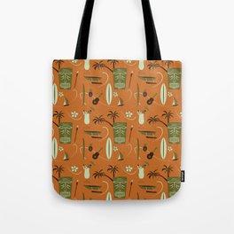 Orange Retro Hawaiian Tiki Hawaii Beach Tote Bag