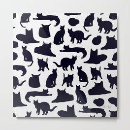 Grumpy Cats - Dark Navy Palette Metal Print