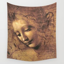 Leonardo da Vinci - Head of a Young Woman, La Scapigliata Wall Tapestry