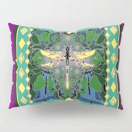 Yellow Dragonfly Purple Fleur de Lys Abstract Pillow Sham