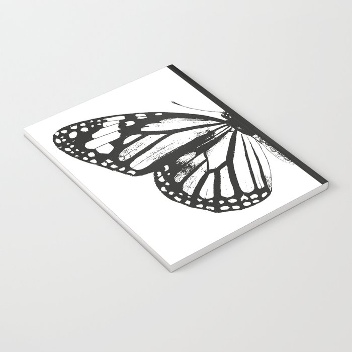 Monarch Butterfly | Left Butterfly Wing | Vintage Butterflies | Black and White | Notebook