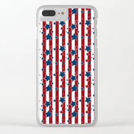 Blue stars, red striped Clear iPhone Case