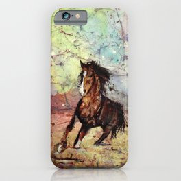 Watercolor batik painting on rice paper of horse running iPhone Case