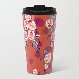 Painty Roses Burnt Orange Travel Mug