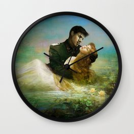 Love me tender - Sad couple in loving embrase in the lake Wall Clock