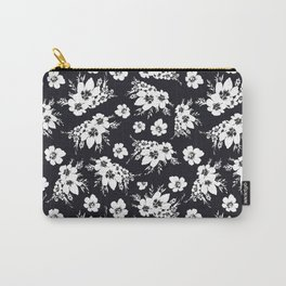 Black and white graphic floral pattern Carry-All Pouch