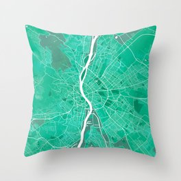 Budapest City Map of Hungary - Watercolor Throw Pillow