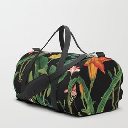 Vintage wild flowers black Duffle Bag