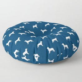 English Springer Spaniel dog breed pet art dog silhouette unique dog breeds navy and white Floor Pillow