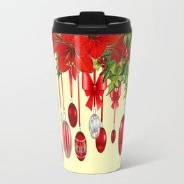 RED CHRISTMAS ORNAMENTS &  POINSETTIAS HOLIDAY ART Travel Mug