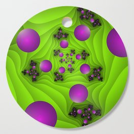 Fractal With Depth, Pink Green Neon Colors Cutting Board