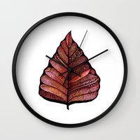 decal Wall Clocks featuring Modern leaf art | green leaves wall decal | botanical leaf decor | botanical leaves | leaf & plant by WestridgeART