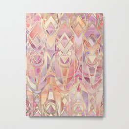 Glowing Coral and Amethyst Art Deco Pattern Metal Print