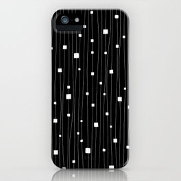 Squares and Vertical Stripes - Black and White - Hanging iPhone Case