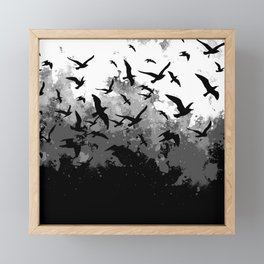 Abstract Black and White birds collage Framed Mini Art Print