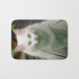 White Cat Bath Mat