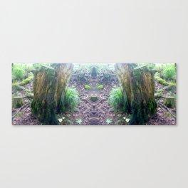 """Faeries and Trolls Welcome"". a split tree stump Canvas Print"