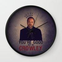 crowley Wall Clocks featuring I'm Crowley - Supernatural by KanaHyde