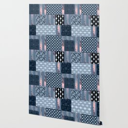 #Pink #blue #patchwork # country Wallpaper