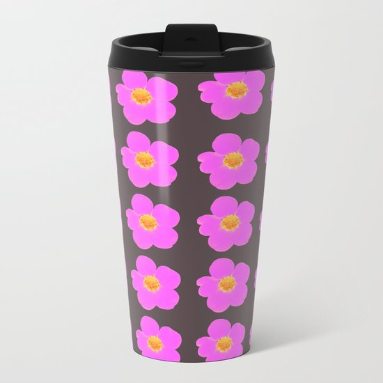 Tiny pink retro flowers on a dark grey background - #Society6 #buyart Metal Travel Mug