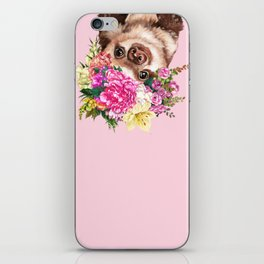 Flower Crown Baby Sloth in Pink iPhone Skin