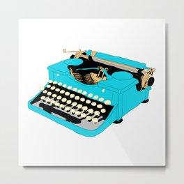 Blue Typewriter Metal Print