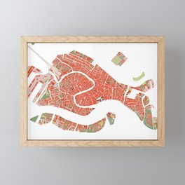 Venice city map classic Framed Mini Art Print