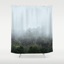 Foggy Forest Blue Mist in the Morning | Landscape Photography Shower Curtain
