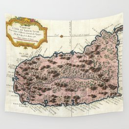 Vintage Map of Saint Lucia (1758) Wall Tapestry